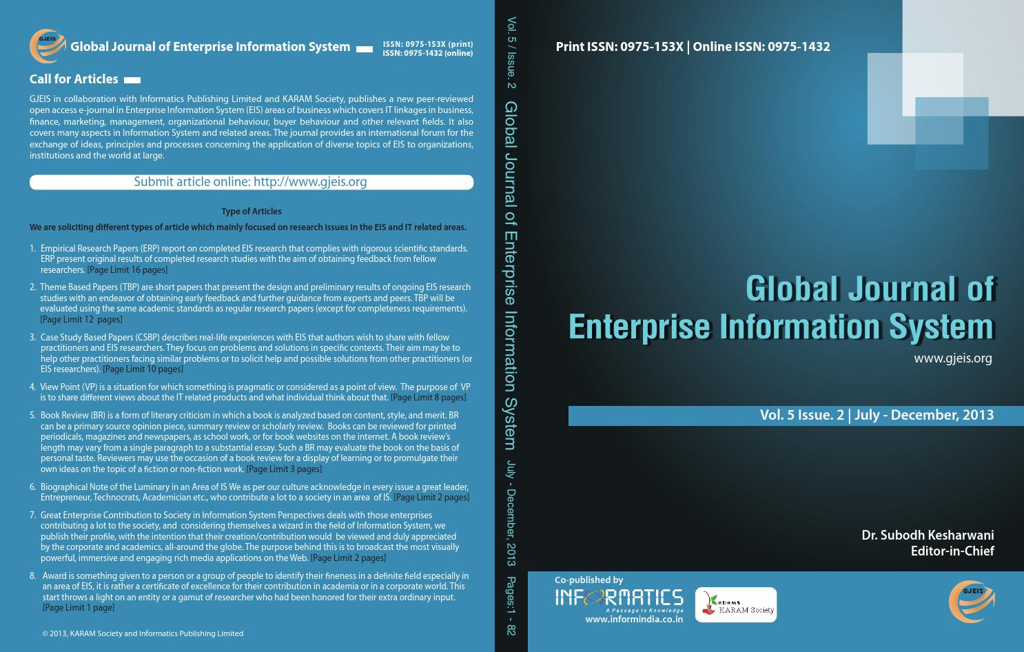 Volume-5, Issue-2 July-Dec 2013 by Global Journal of Enterprise ...