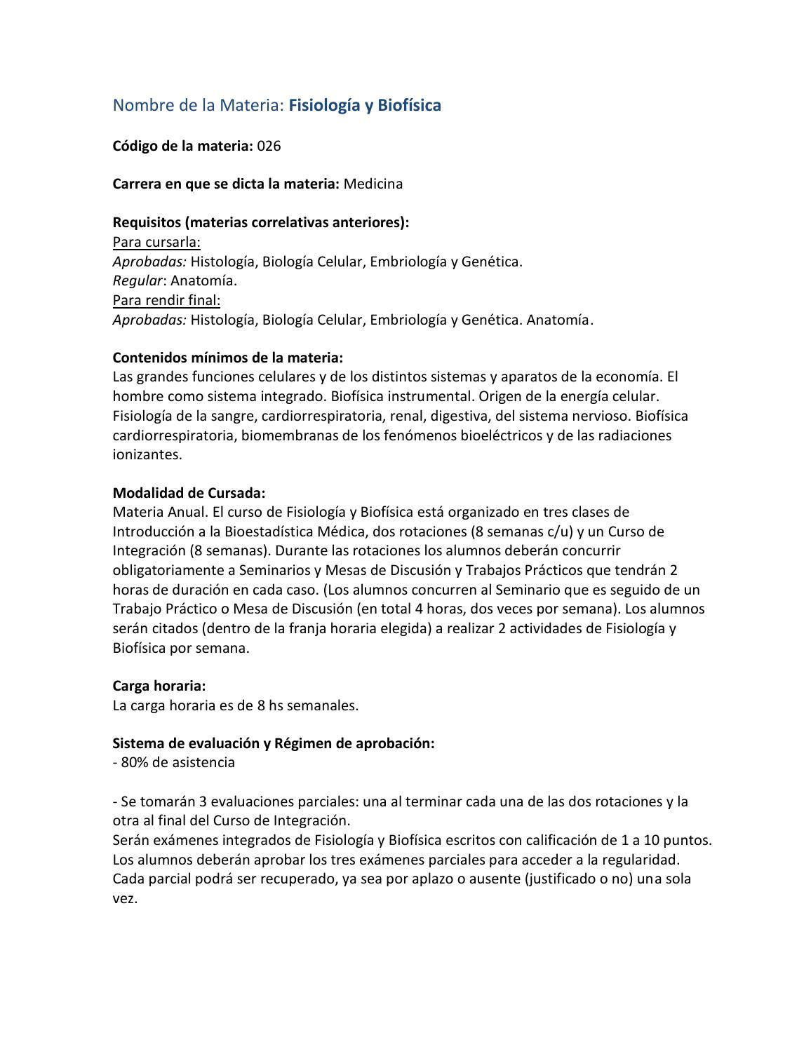 Fisiología by Plan de estudios - FMed UBA - issuu