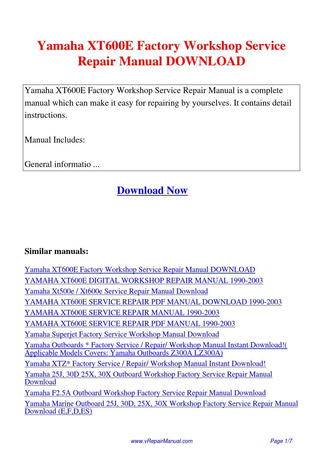 Yamaha XT600E Factory Workshop Service Repair Manual.pdf by David Zhang -  issuu