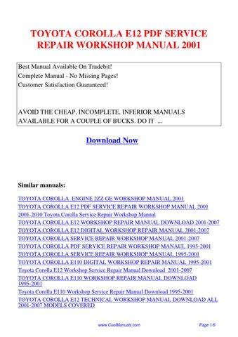 Toyota Corolla E12 Service Repair Workshop Manual 2001 Pdf By Guang Hui Issuu