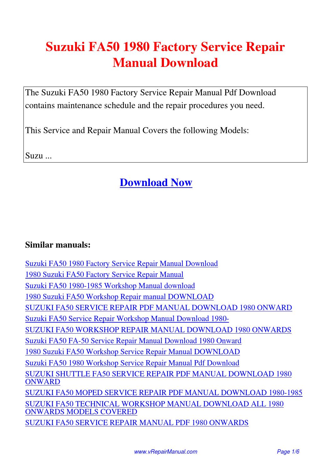 Suzuki FA50 1980 Factory Service Repair Manual.pdf by David Zhang - issuu