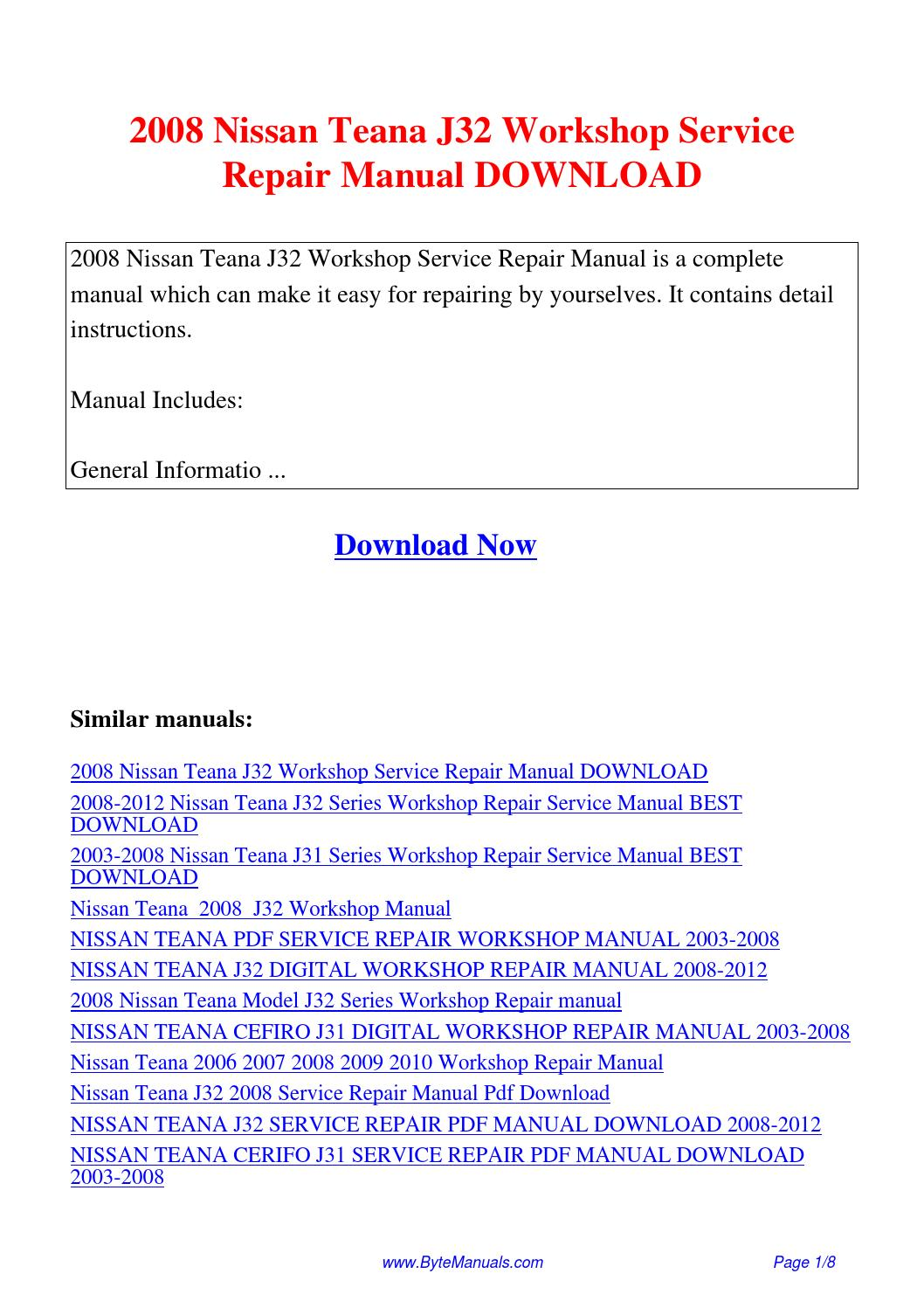 2008 Nissan Teana J32 Workshop Service Repair Manual.pdf by Ging Tang -  issuu