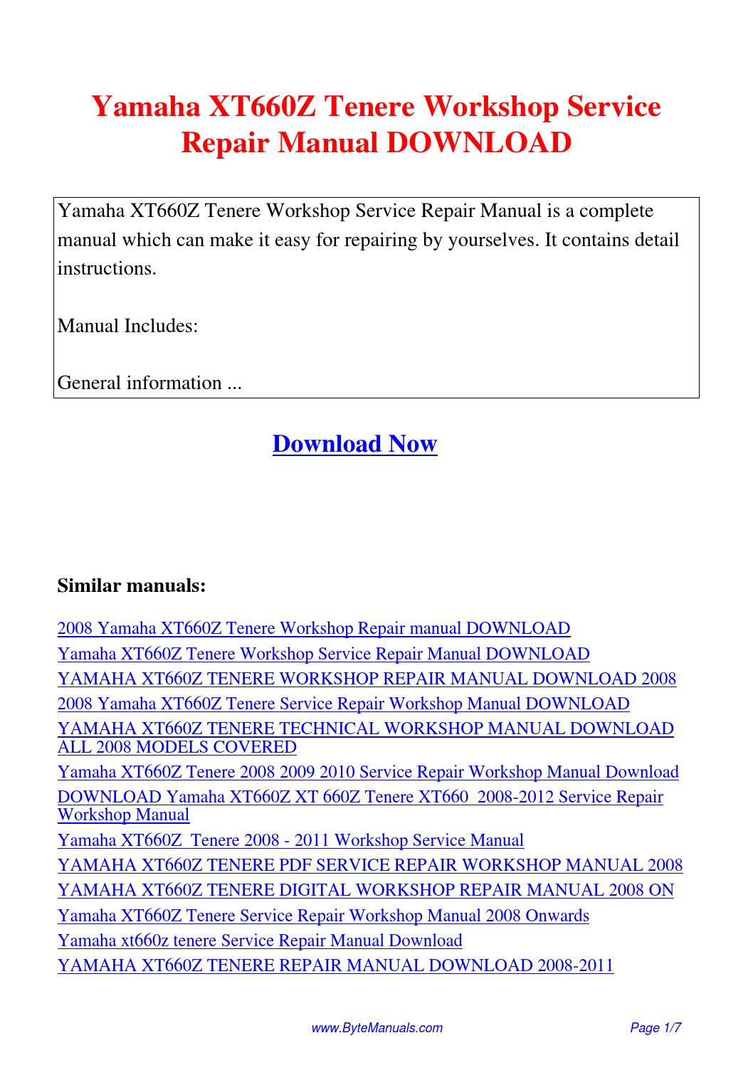 Yamaha XT660Z Tenere Workshop Service Repair Manual.pdf by Ging Tang - issuu
