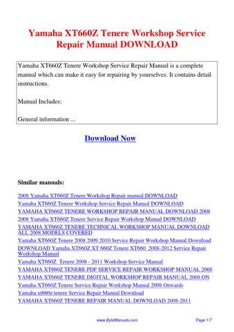 yamaha xt660z tenere workshop service repair manual pdf by ging tang rh issuu com