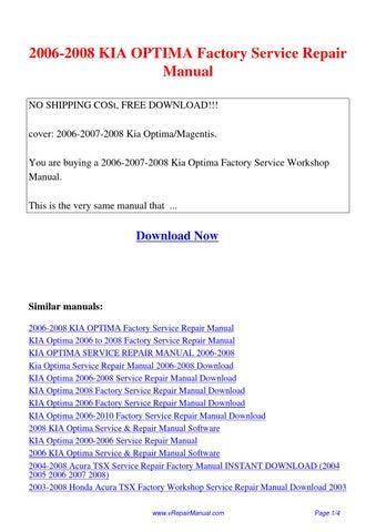 2006 2008 kia optima factory service repair manual pdf by david rh issuu com 2010 Kia Optima Manual 2010 Kia Optima Manual