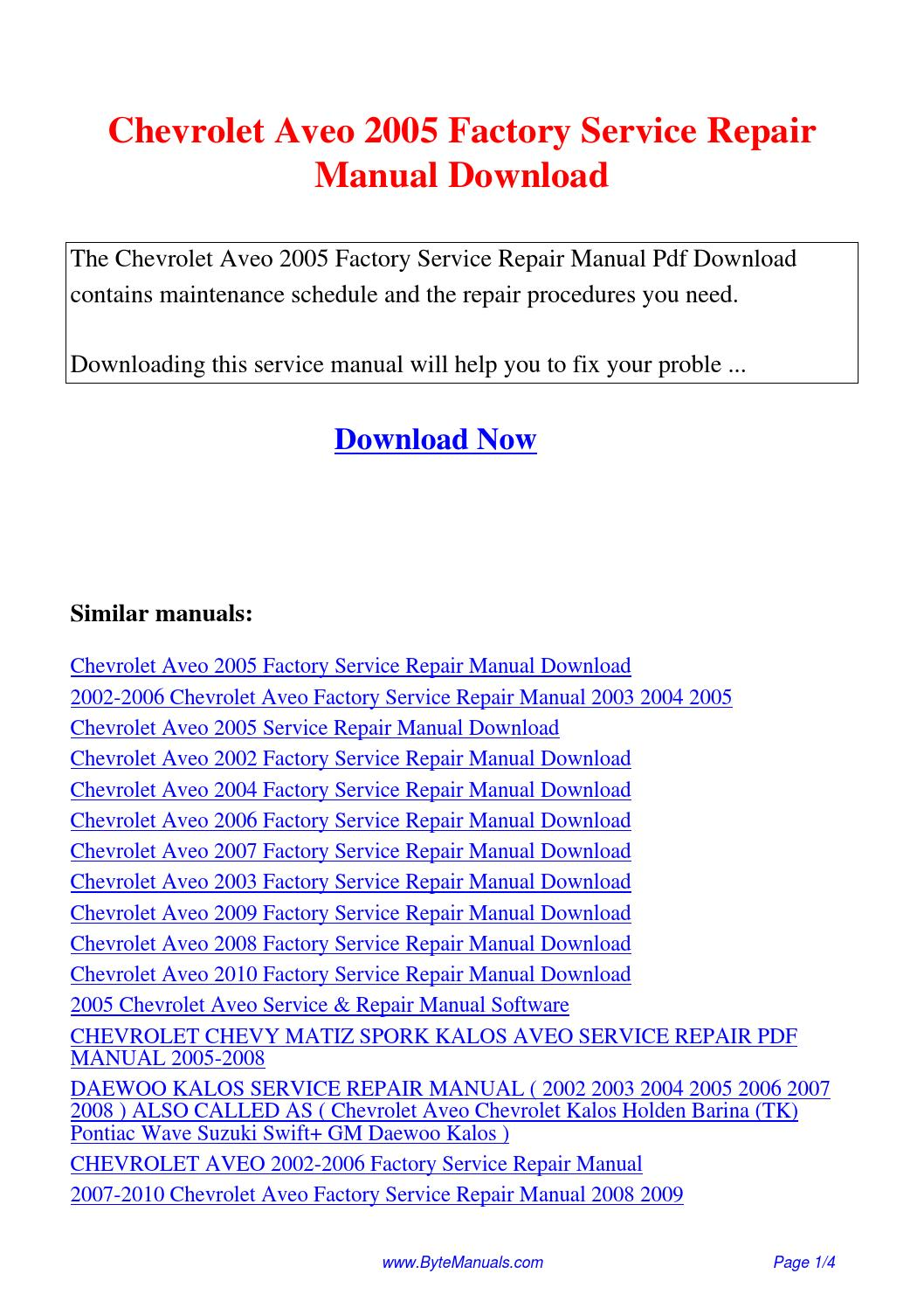Chevrolet Aveo 2005 Factory Service Repair Manual.pdf by Ging Tang - issuu