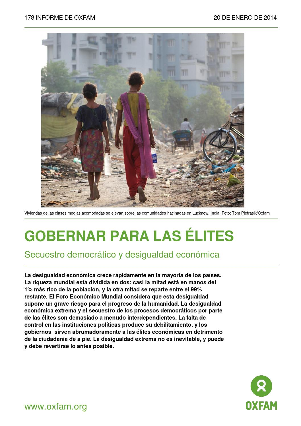 Resultado de imagen para Oxfam: radiografía de la desigualdad pdf