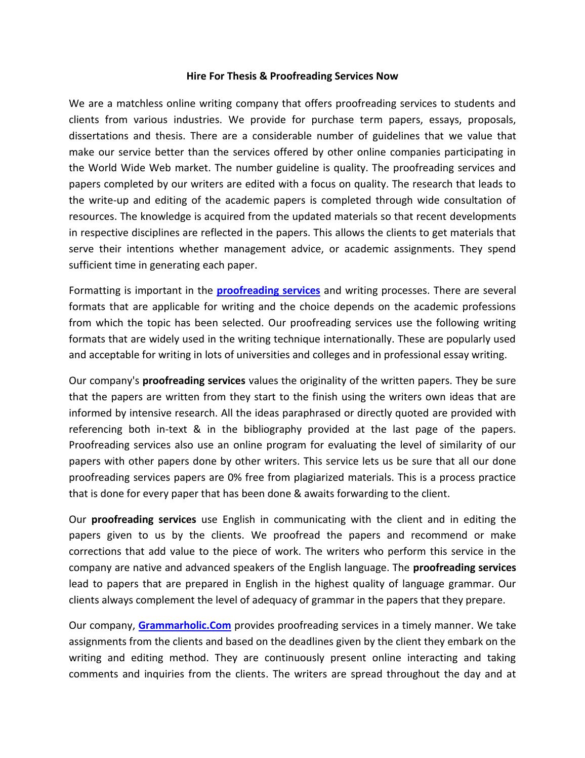 Thesis proofreading service