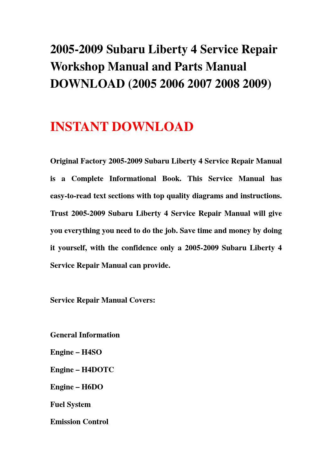 2005 2009 subaru liberty 4 service repair workshop manual. Black Bedroom Furniture Sets. Home Design Ideas