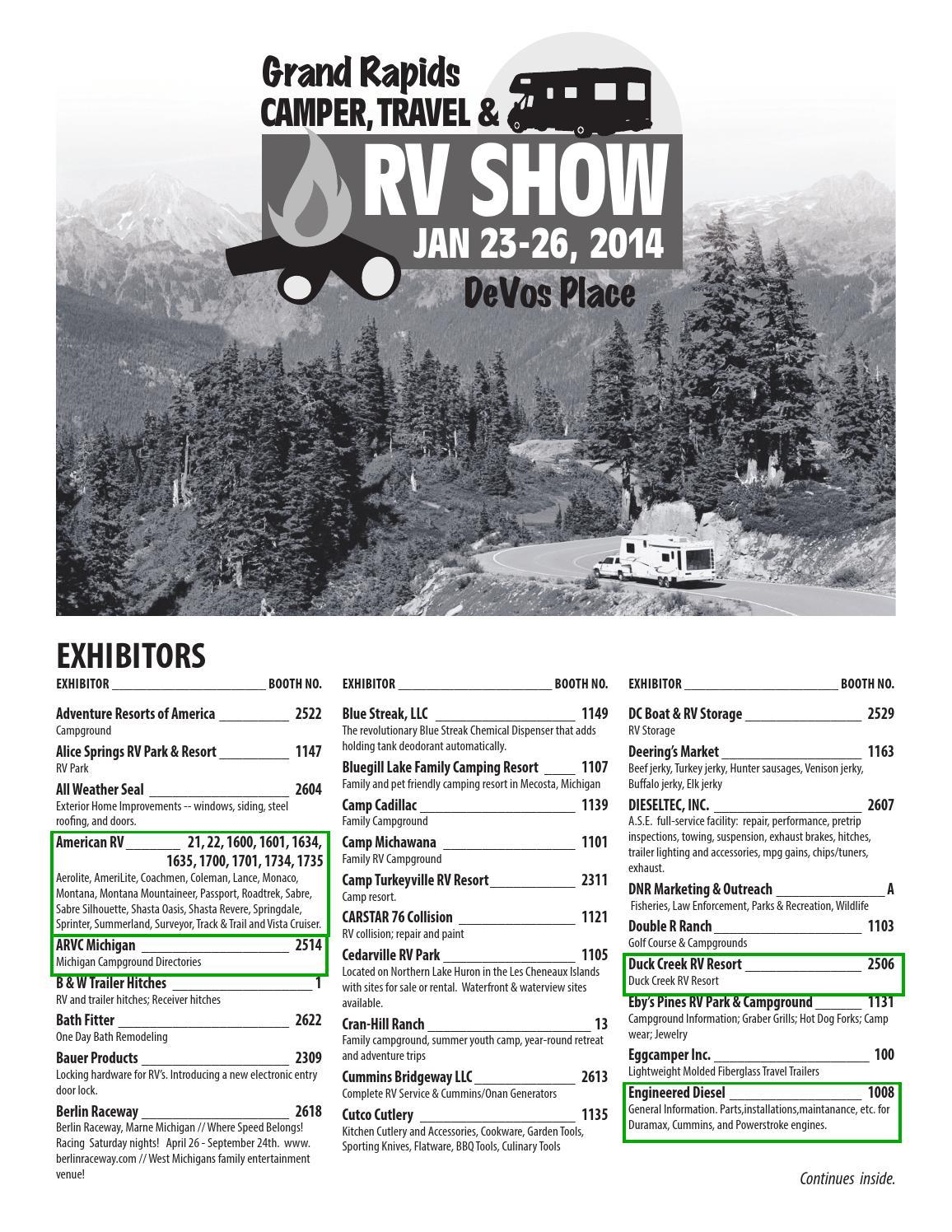 Grand Rapids Camper Travel Amp Rv Show 2014 Program By