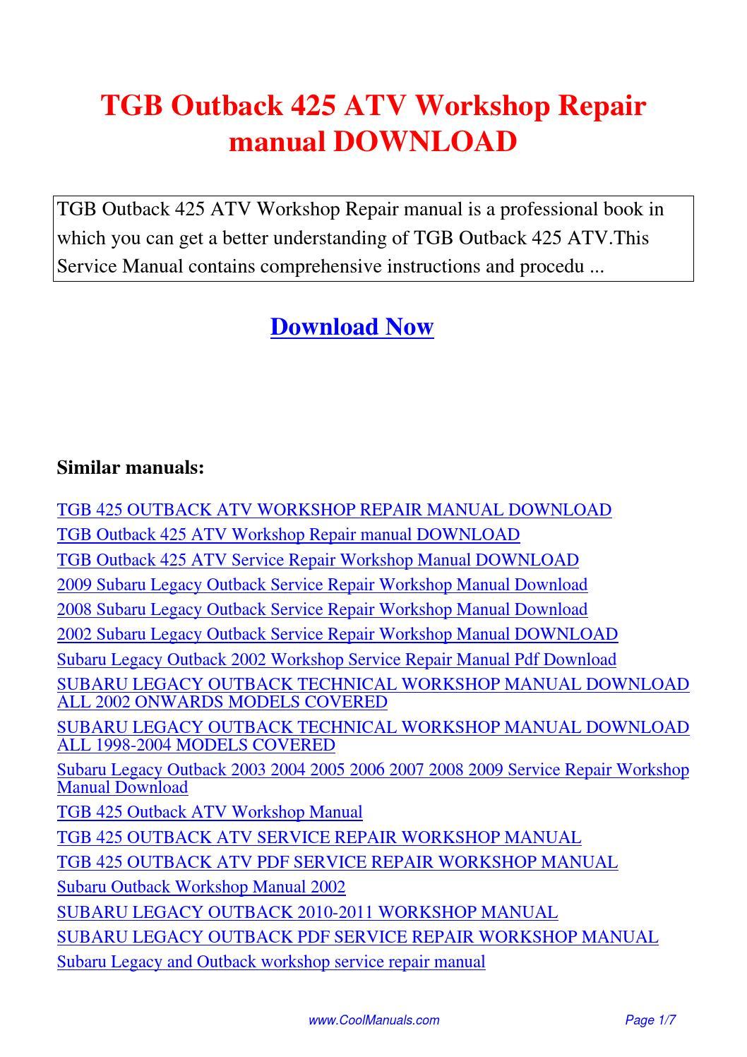 2005 Subaru Outback Service Manual Pdf 1998