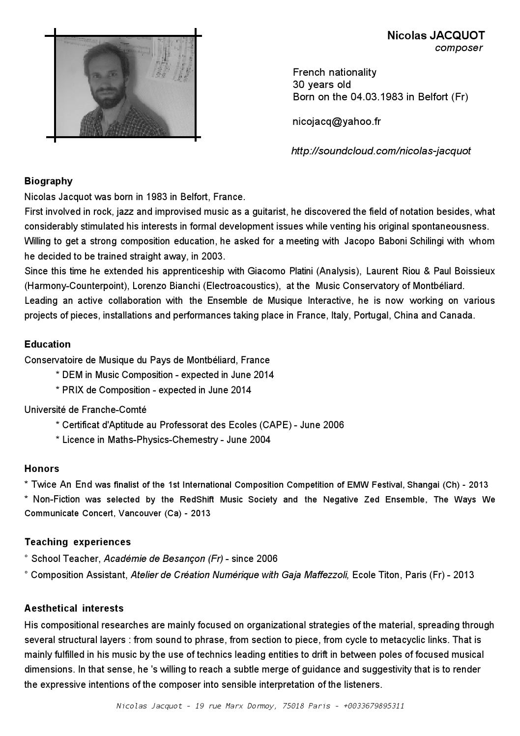 one page resume by nicolas-jacquot