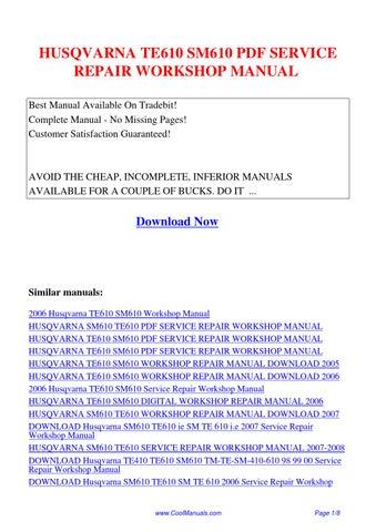Husqvarna Te610 Sm610 Service Repair Workshop Manual Pdf By Linda Pong Issuu