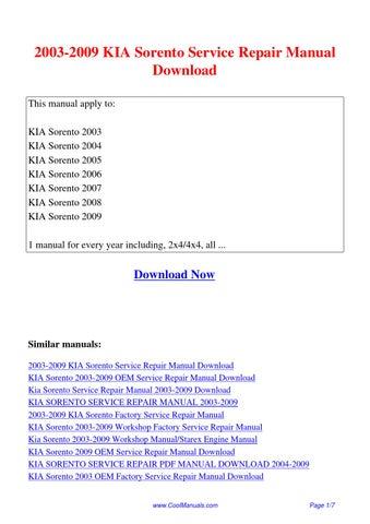 2003 2009 kia sorento service repair manual pdf by linda pong issuu rh issuu com 2006 kia sorento service manual 2007 kia sorento service manual pdf