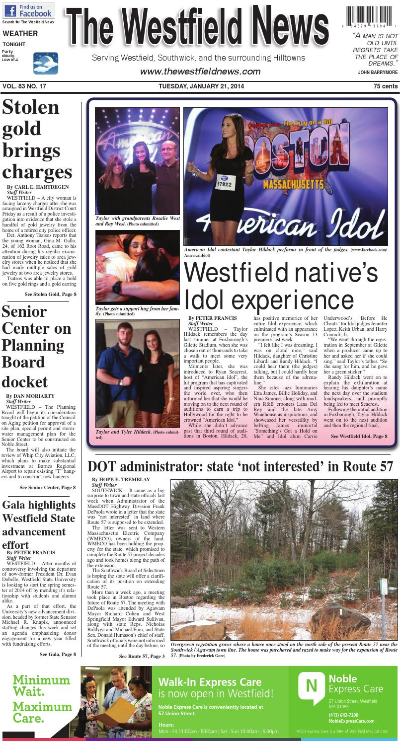Tuesday, January 21, 2014 by The Westfield News - Issuu