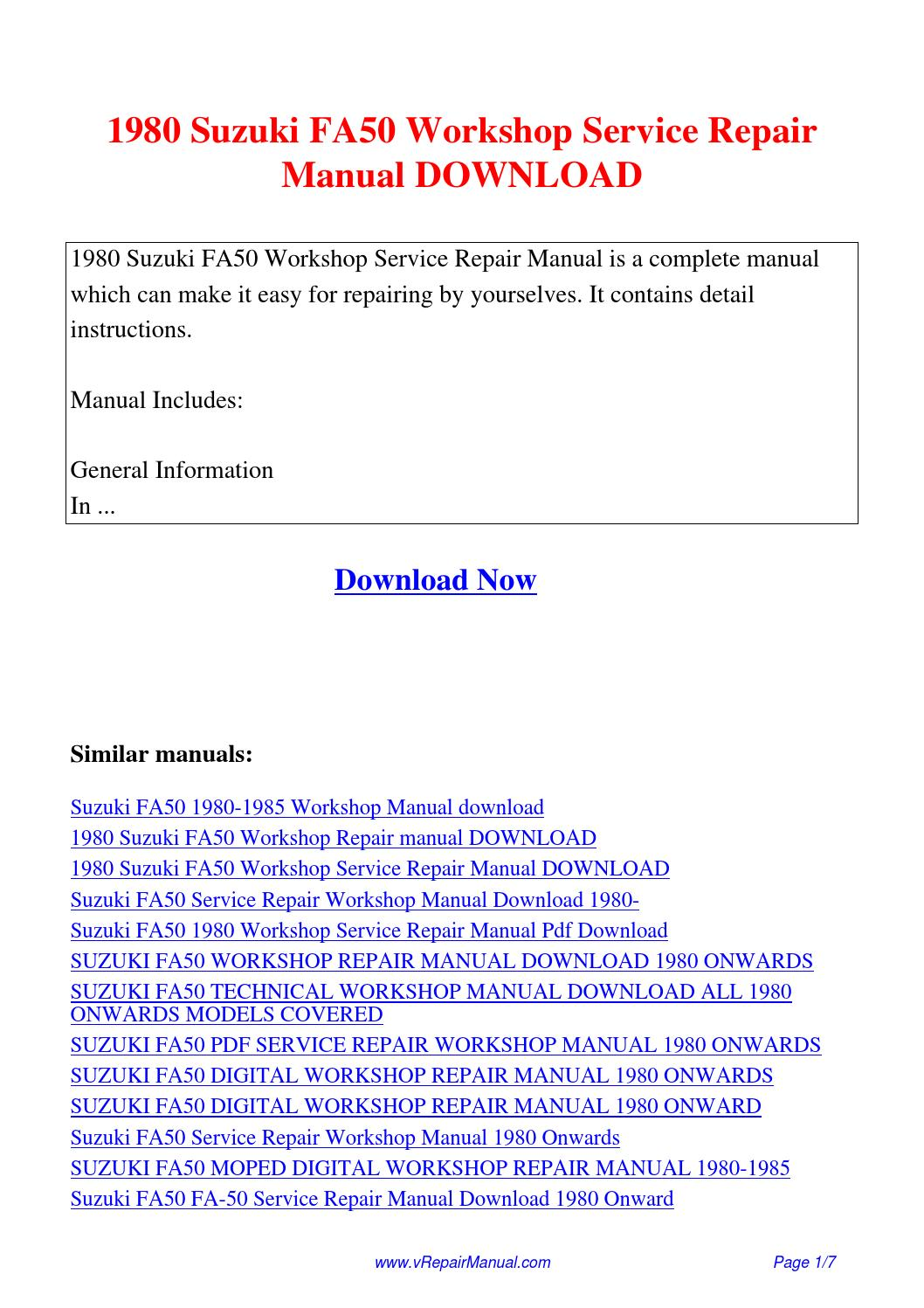 1980 Suzuki FA50 Workshop Service Repair Manual.pdf by David Zhang - issuu