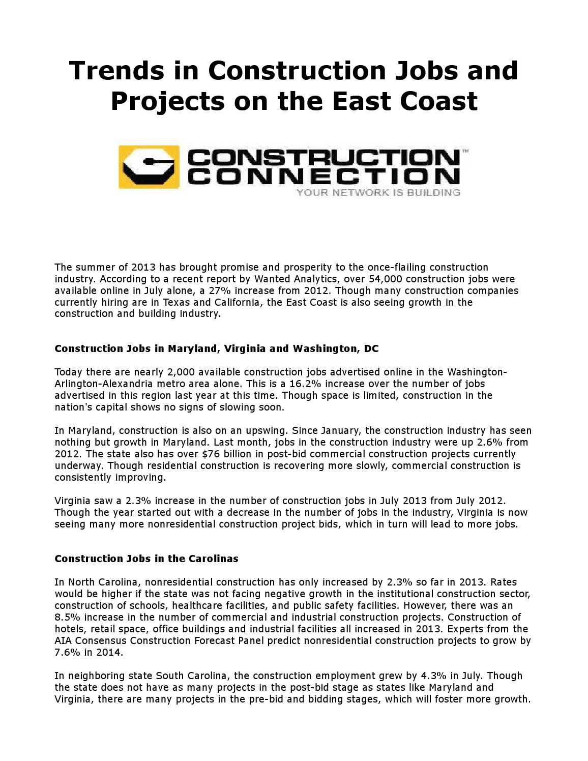 trends in construction jobs and projects on the east coast by kent