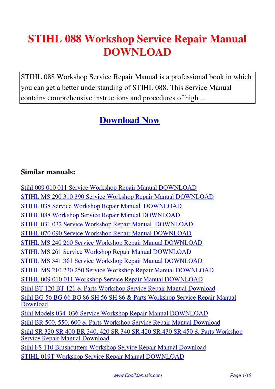 088 Stihl Chainsaw Parts List Manual
