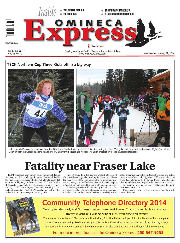 Vanderhoof Omineca Express, January 22, 2014