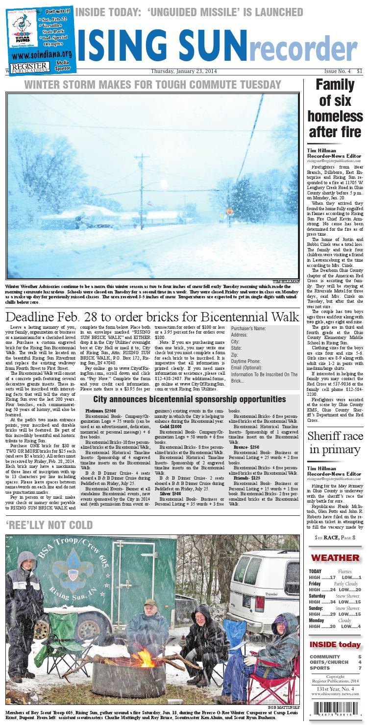 The ohio county news:the rising sun recorder 1 23 14 by Denise Freitag Burdette - issuu