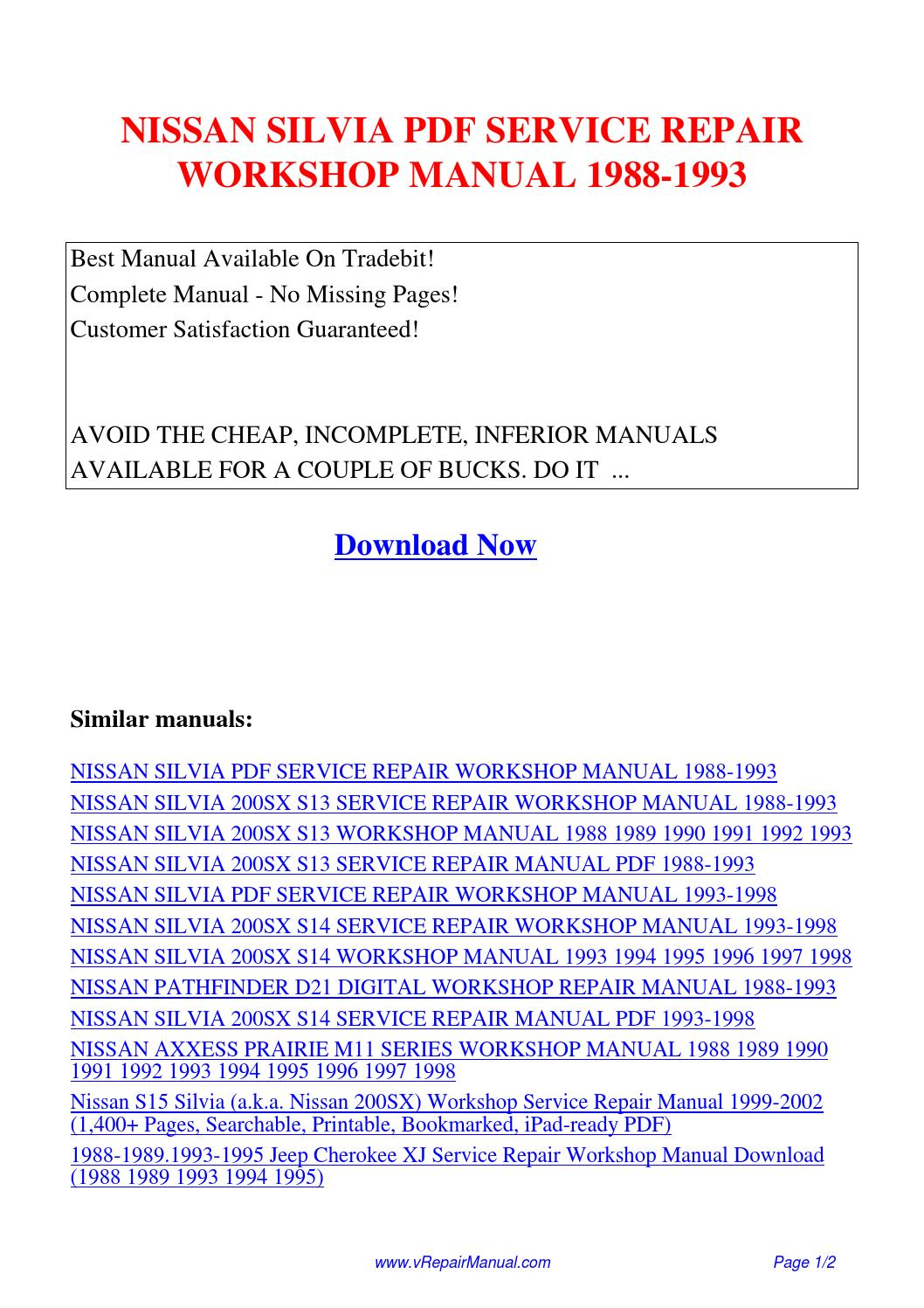 NISSAN SILVIA SERVICE REPAIR WORKSHOP MANUAL 1988-1993.pdf by David Zhang -  issuu