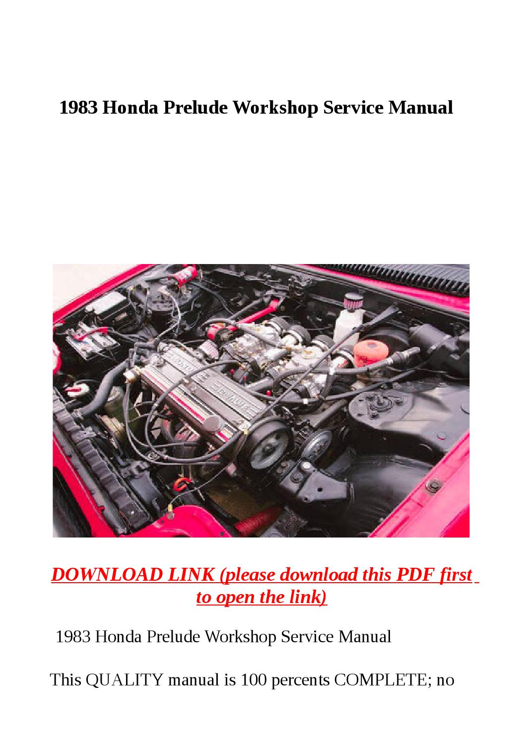 1983 Honda Prelude Workshop Service Manual By Abcdeefr Issuu
