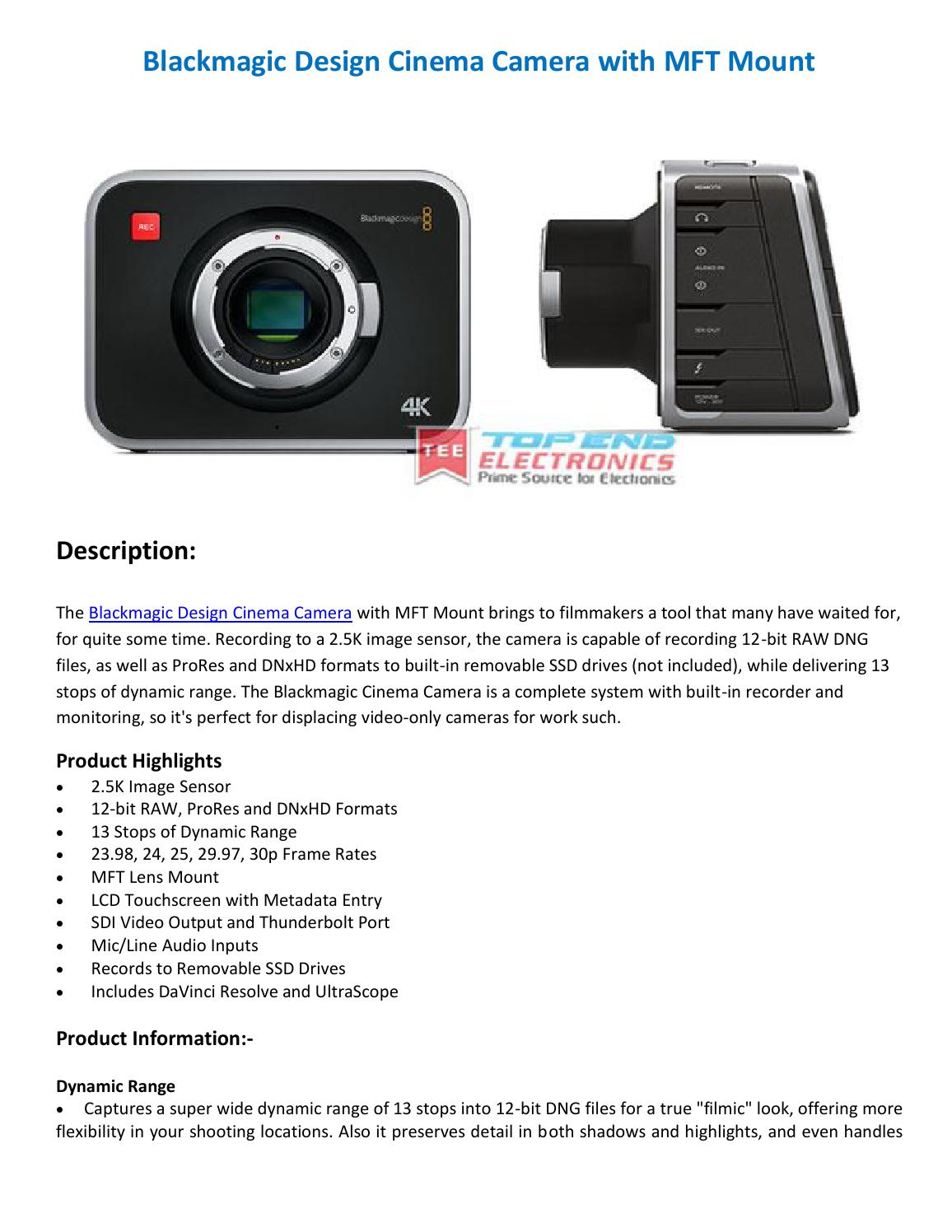 Blackmagic Design Cinema Camera With Mft Mount By Topend Electronics Issuu
