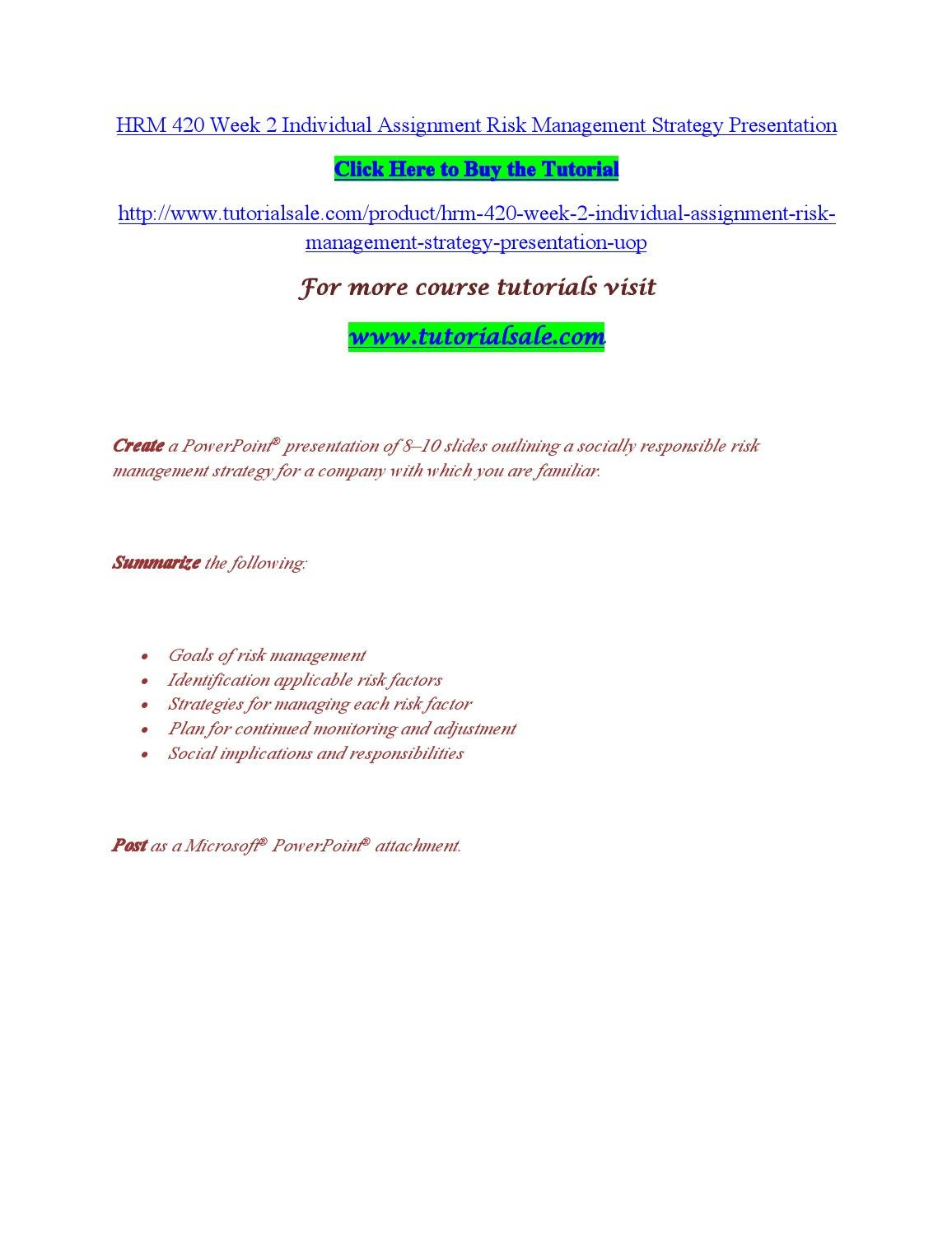 Hrm 420 week 2 individual assignment risk management