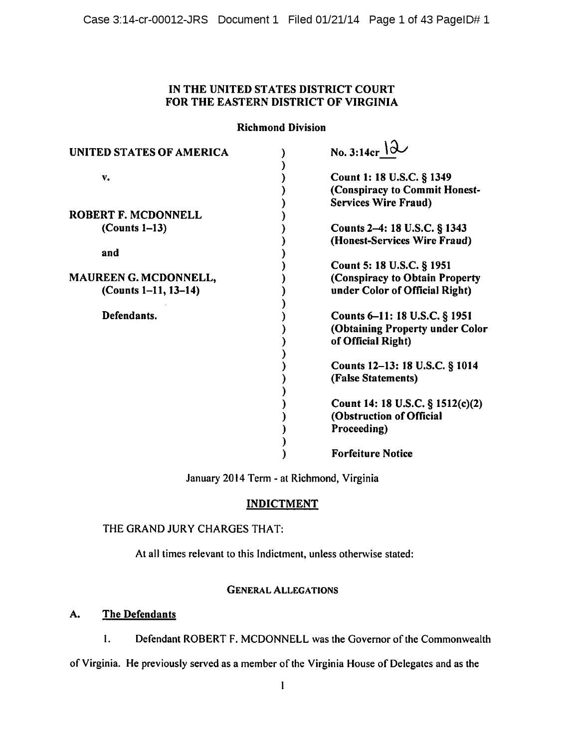 forfeiture notice template - mcdonnell indictment by virginia business issuu