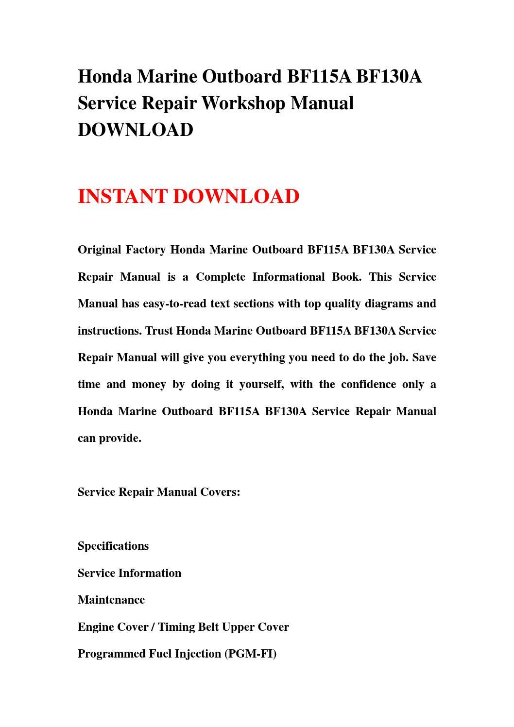 Honda marine outboard bf115a bf130a service repair workshop manual download  by hnfgsfnn - issuu