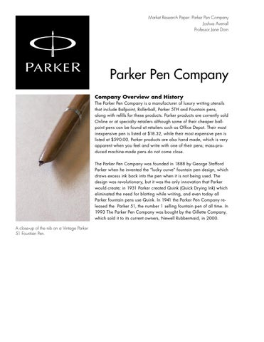 Parker Marketing Research Overview