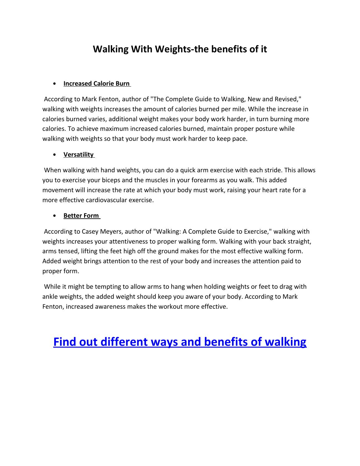 Walking with weights the benefits by Derrick Graham - issuu