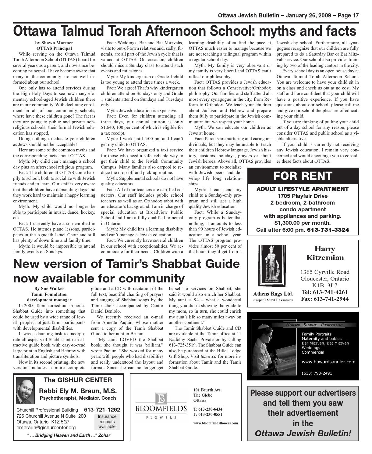 Ottawa Jewish Bulletin 2009 01 26 Inaccessible By The