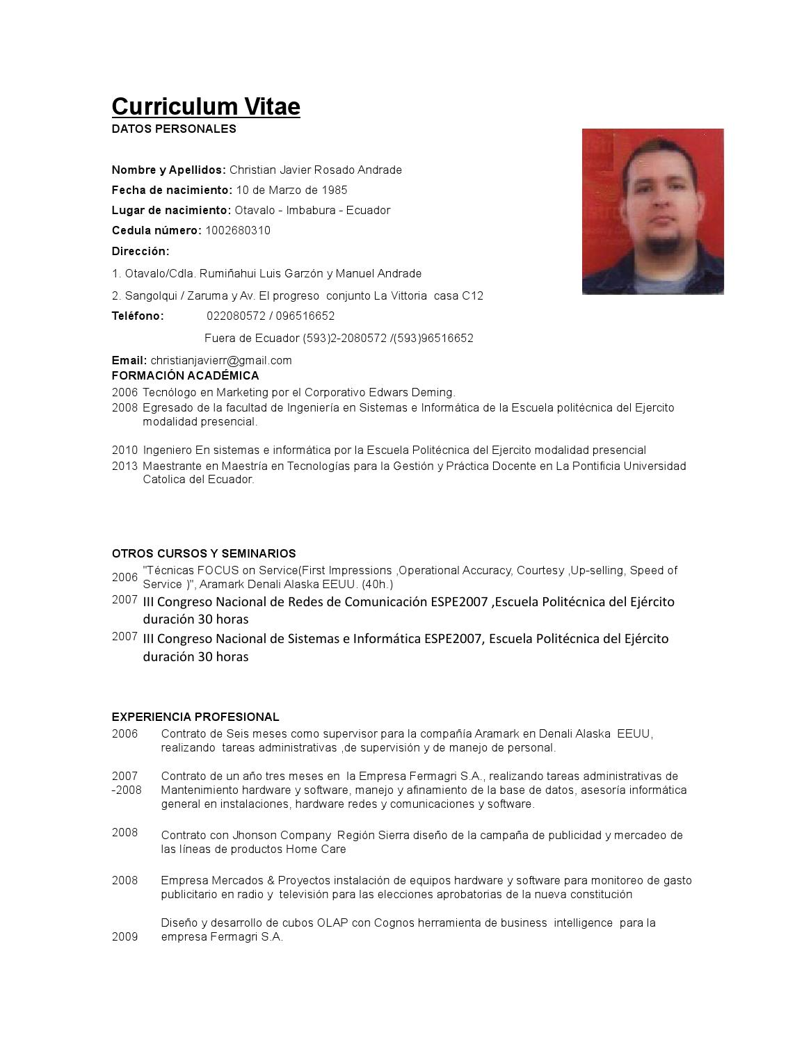Curriculum Vitae Christian Rosado Copia By Christian Rosado Issuu
