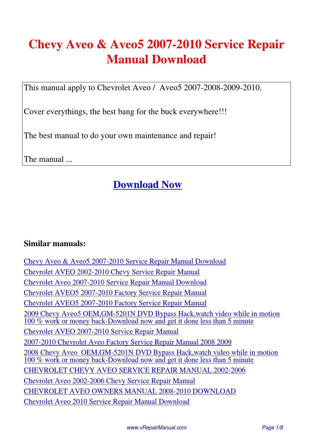 Chevy Aveo Aveo5 2007-2010 Service Repair Manual.pdf by David Zhang - issuu