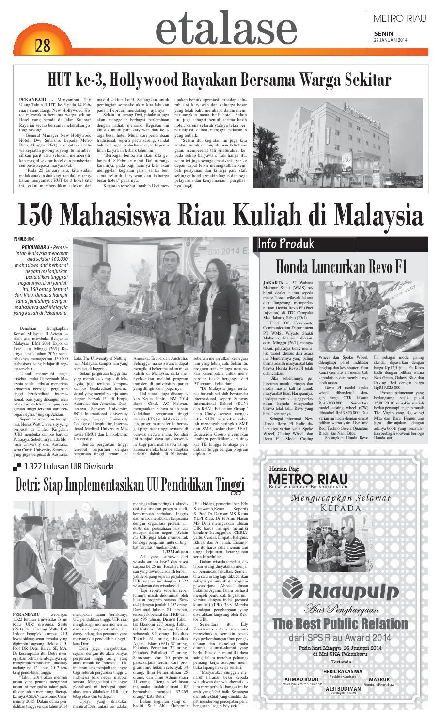 270114 By Harian Pagi Metro Riau Issuu Revo Fit Galaxy Blue Jakarta