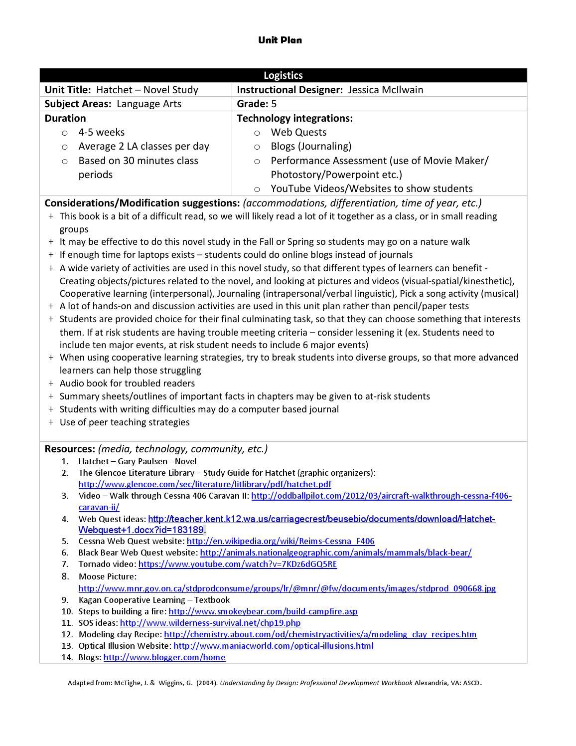 worksheet Hatchet Worksheets language arts novel study by jessica mcilwain issuu