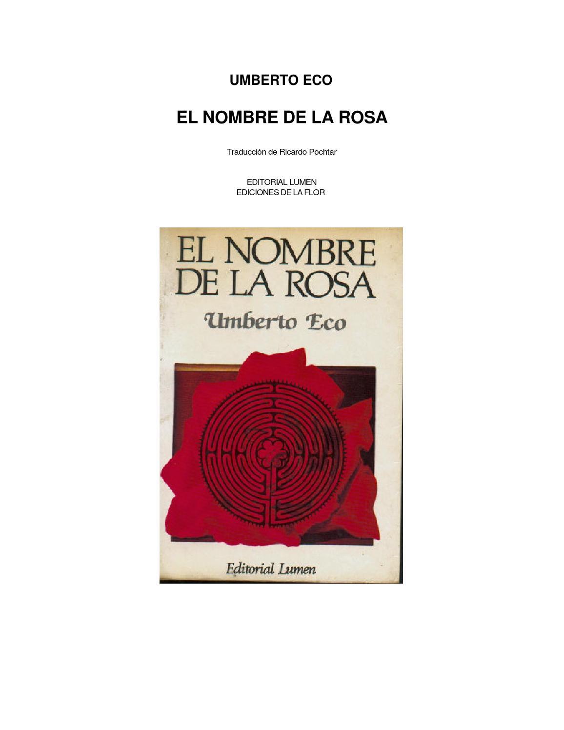 Eco umberto el nombre de la rosa by Elizabeth - issuu