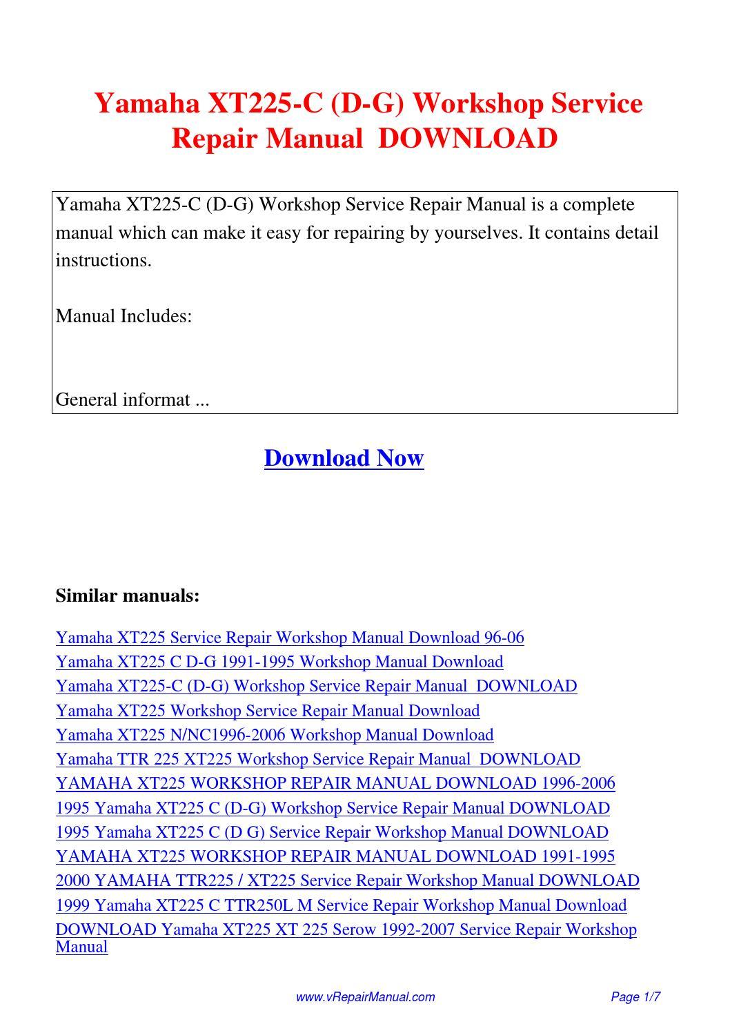 Yamaha XT225-C D-G Workshop Service Repair Manual.pdf by David Zhang - issuu