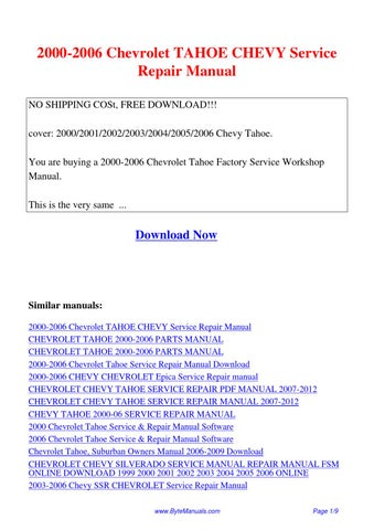 2000-2006 chevrolet tahoe chevy service repair manual. Pdf by ging.