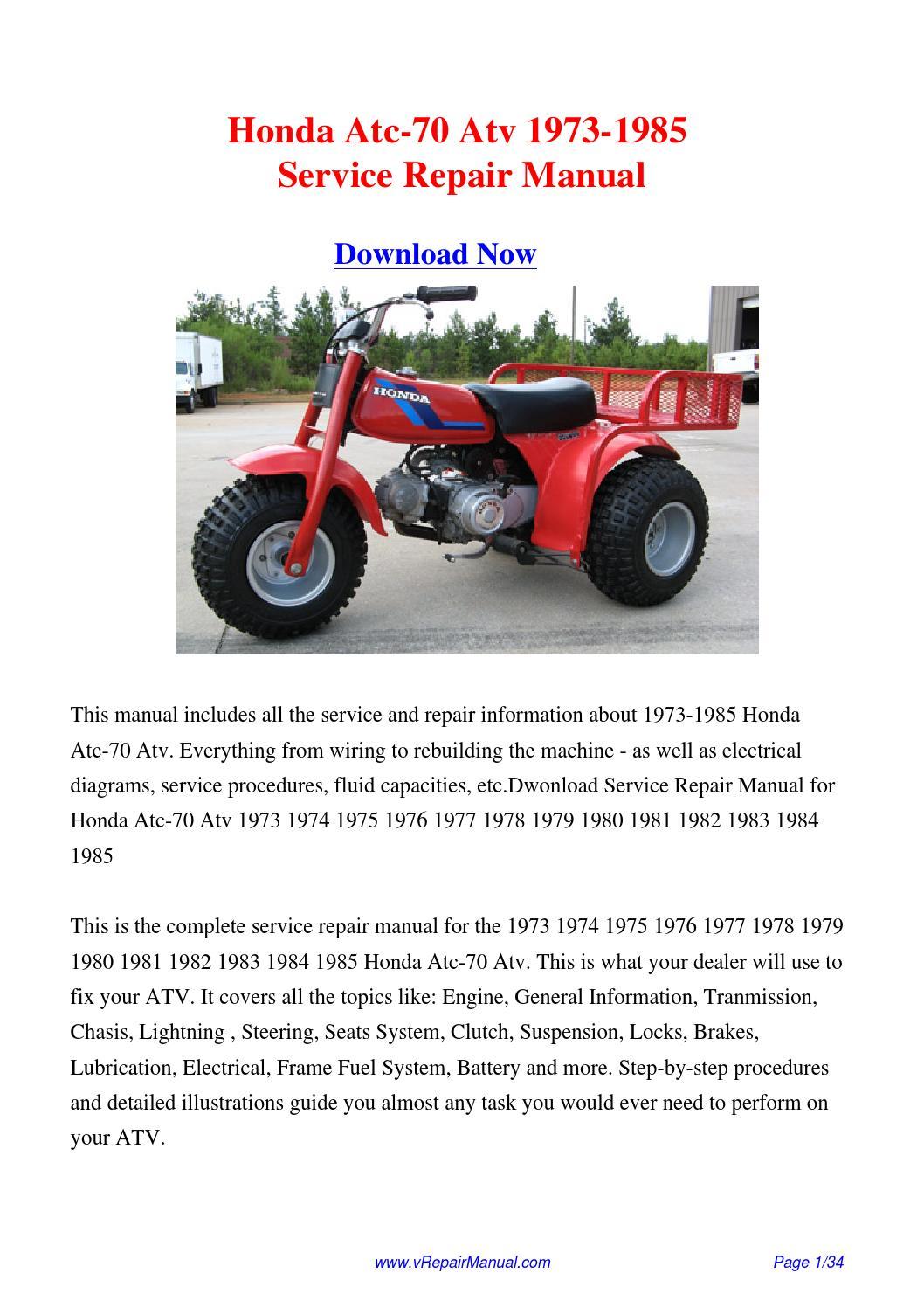 Honda Atc70 1973 1985 Repair Manual Manual Guide