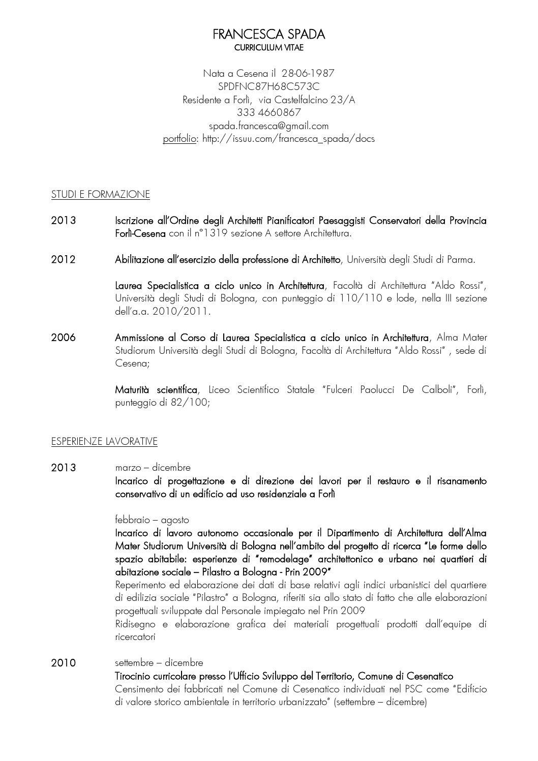 CV Francesca Spada By Francesca Spada Issuu