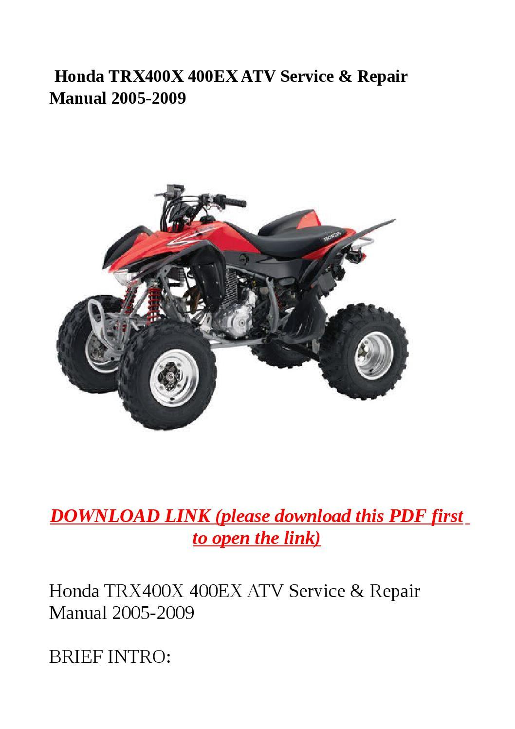 Honda Trx400x 400ex Atv Service  U0026 Repair Manual 2005 2009