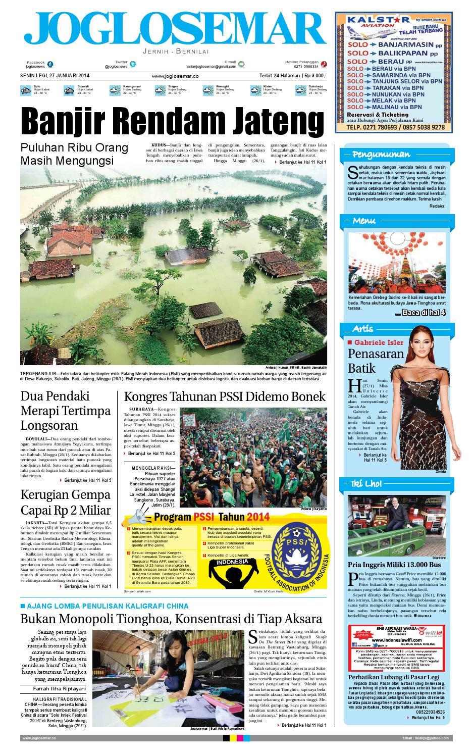 Epaper Edisi 27 Januari 2014 By PT Joglosemar Prima Media