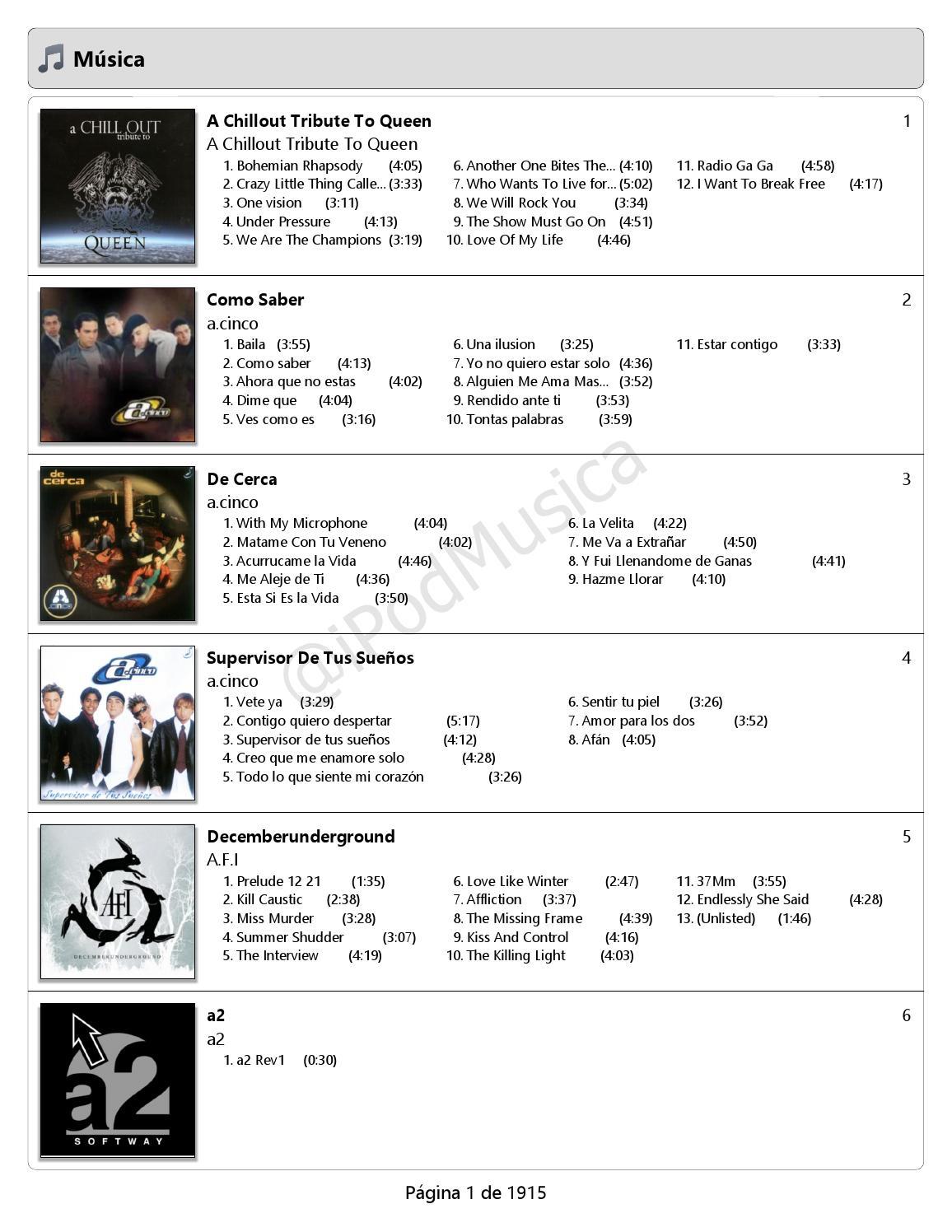 Catálogo Musical At Ipodmusica 1 De 4 Ordenado Por Artista De