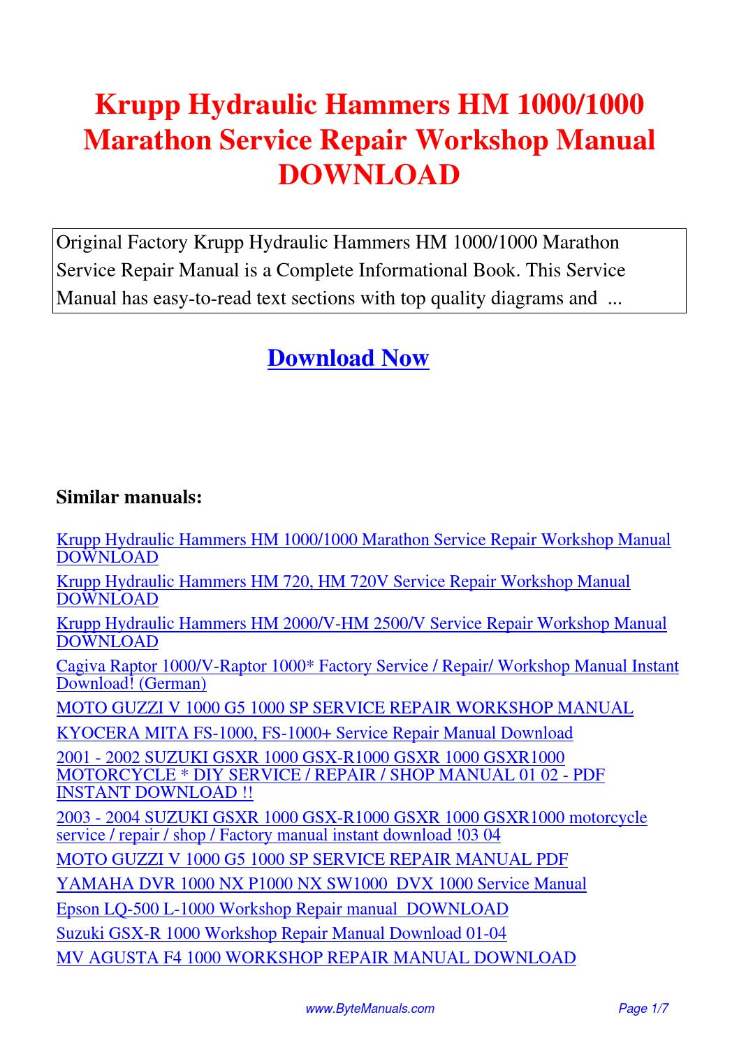 Krupp Hydraulic Hammers HM 1000 1000 Marathon Service Repair Workshop Manual.pdf  by Ging Tang - issuu