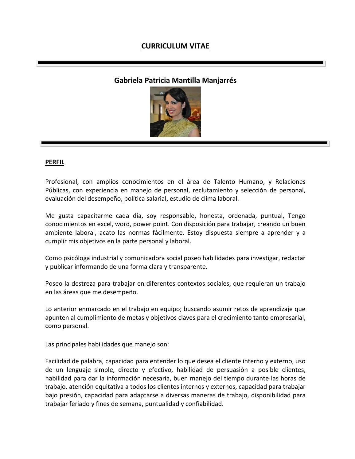 Curriculum vitae patricia mantilla by Pathy - issuu