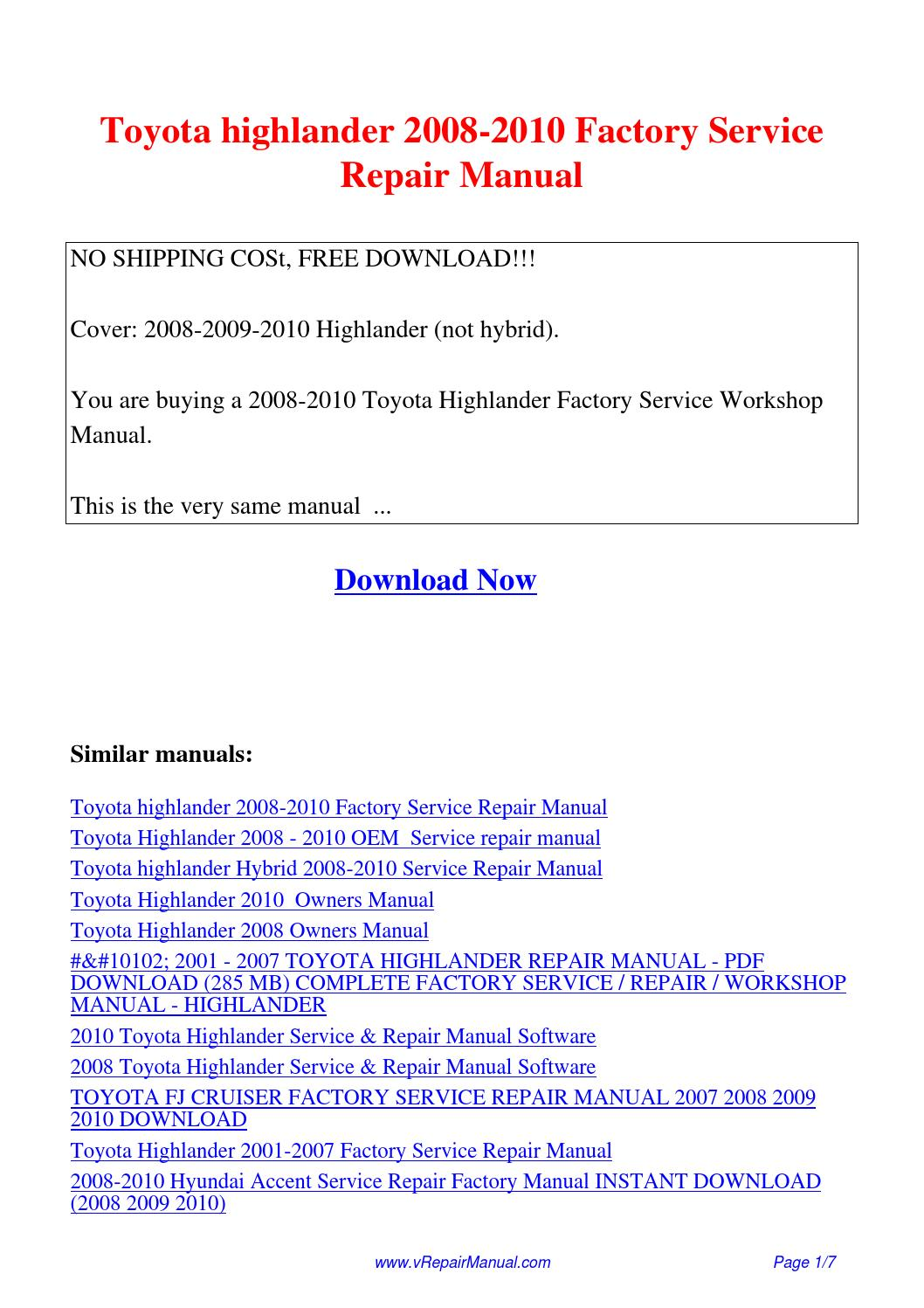 Toyota highlander 2008-2010 Factory Service Repair Manual.pdf by David  Zhang - issuu