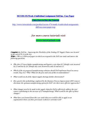 Iscom 476 week 4 individual assignment dell inc case paper by
