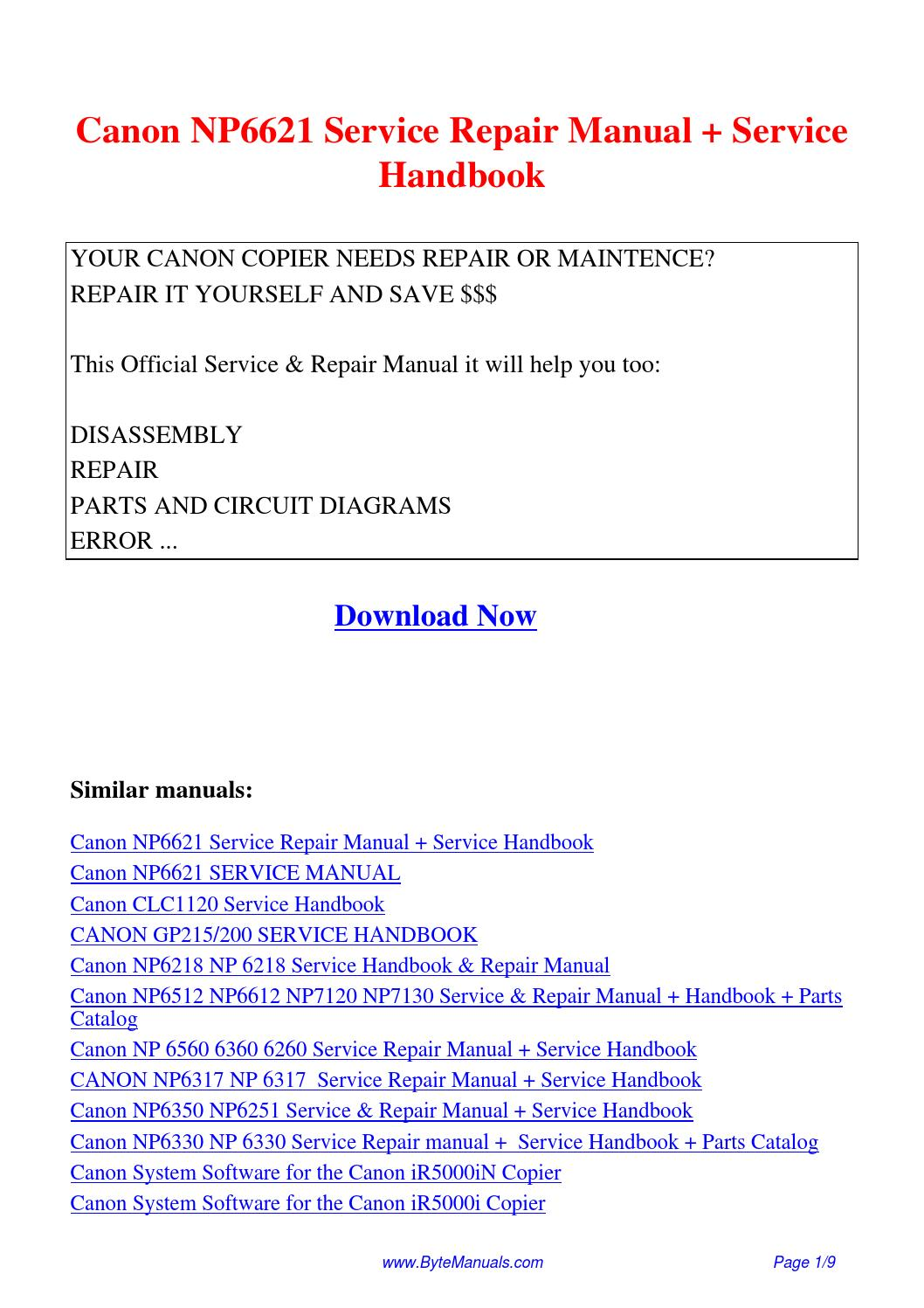 Canon NP6621 Service Repair Manual Service Handbook.pdf by Ging Tang - issuu